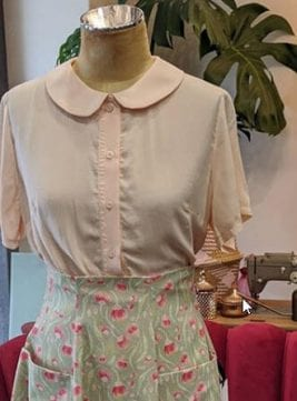 Peach Audrey Blouse with vintage polly pocket skirt