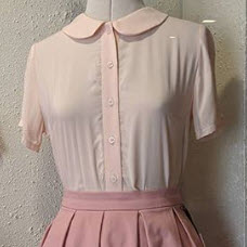 Peach Audrey Blouse with vintage skirt