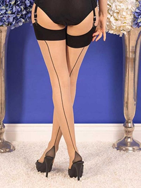 what katie did back seam stockings champagne black